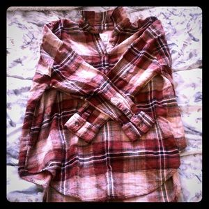 American Eagle Plaid Flannel Top